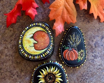 Hand painted rocks set of 3 autumn stones from Inspirationrocks4u