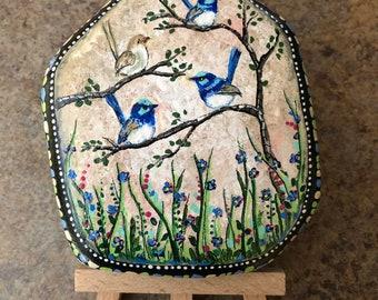 Hand  painted rock spring fairy wrens  by Inspirationrocks4u