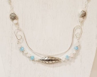 Silver wirework and crystal necklace