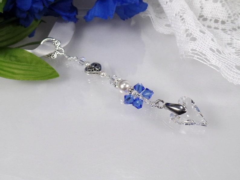 Something Blue Bridal Bouquet Charm Bridal Shower Gift Wedding Bouquet Charm Something Blue for Bride Heart Bouquet Charm