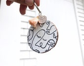 Hand Painted Wooden Keychain - Faces - Keyring - Accessories - Key Accessories