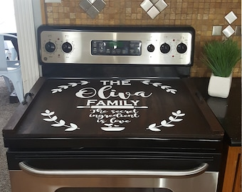 Custom Stove Top Cover Farmhouse Rustic Stove Cover Thick Burner Cover  Personalized Wooden Tray Custom Wood Tray Noodle Board Farmhouse Home