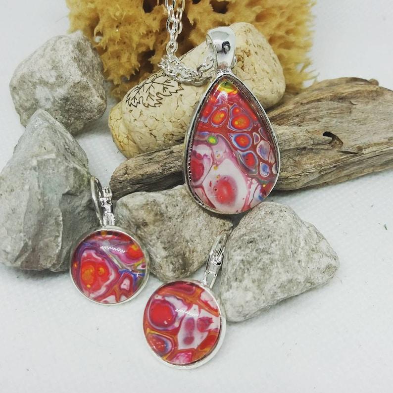 Fluid art Pendant and earring set