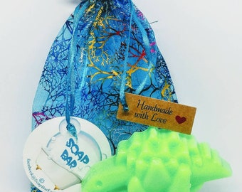 Natural Soap, Dinosaur Soap, Handmade Soap, Glycerin Soap, Vegan Soap, Coconut Oil, Birthday Favors, Soap Favors, Tangerine, Lemongrass