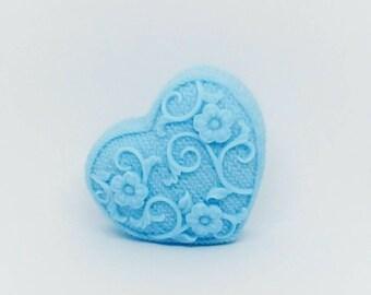 Natural Soap, Blue Heart, Handmade Soap, Glycerin Soap, Vegan Soap, Bar Soap, Coconut Oil, Argan Oil, Hand Soap, Geranium Bourbon, Skin Care