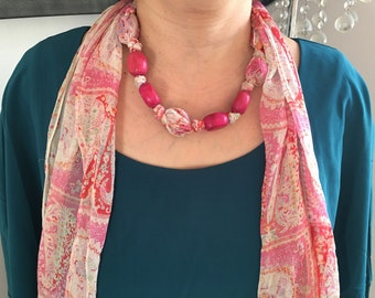 Pink Pattern Beaded Scarf