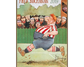 2019 Wall Calendar 12 Pages Vintage Reprint Posters Funny Sport In Scotland By Fred Buachan Cartoon Ads M724