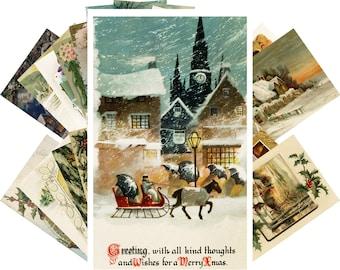 Cartes de Noel Vintage 24pcs Christmas All Faces of Santa Reprint Retro Postcard Set