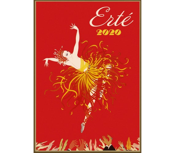 Calendario Marbaro 2020.2020 Wall Calendar 12 Pages Vintage Reprint Posters Erte French Art Deco M652