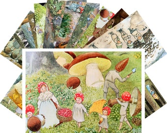 Postcards Set 24pcs * Small Forest People by Elsa Beskow Vintage Kids Book Art CD3010