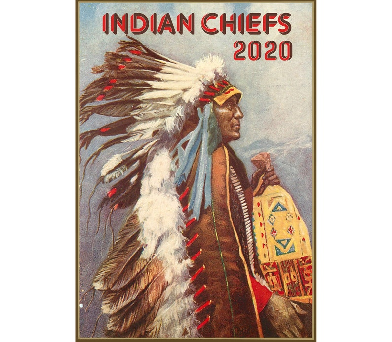 Calendrier 2020 Side Car Cross.2020 Wall Calendar 12 Pages Vintage Reprint Native American Indian Chef Portrait Painting Illustration M751