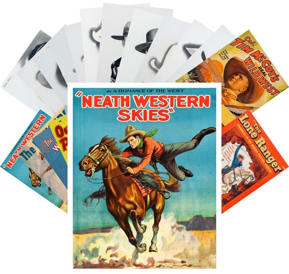 Carte Postale 24pcs Western Cowboys Pioneers Indians Wild West Vintage Art by Frank McCarthy and Frederic Remington Cartes et papier cartonné
