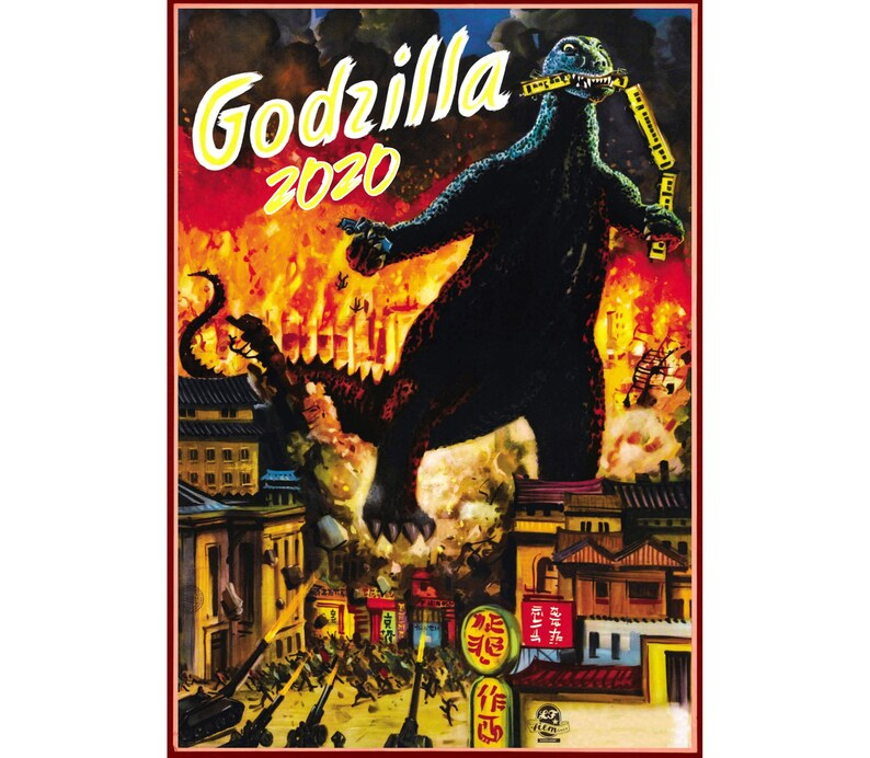 Marbaro Calendario 2020.2020 Wall Calendar 12 Pages Godzilla Vintage Movie Reprint Posters Kaiju Horror M435