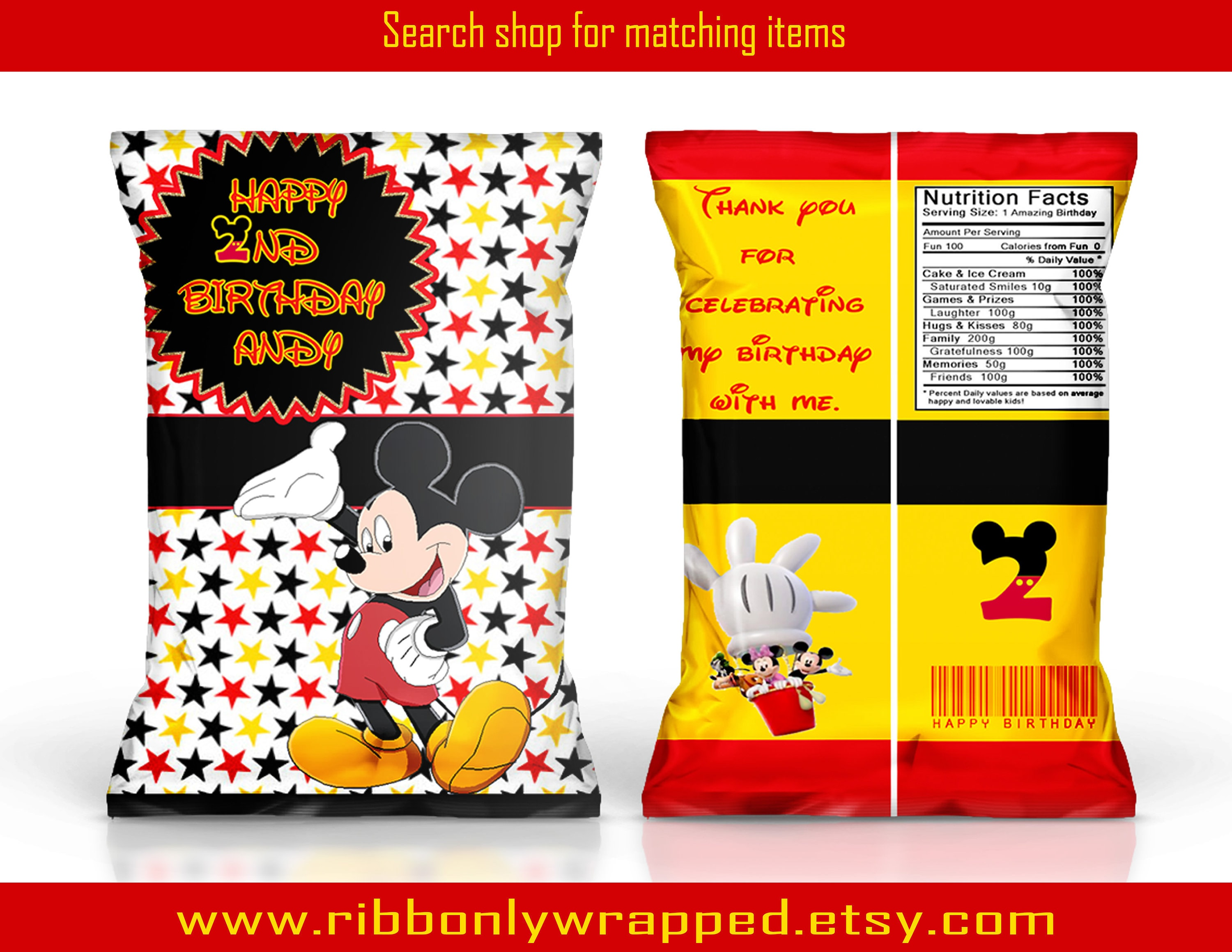 Mickey Mouse Clubhouse Chip bag Mickey Mouse Clubhouse party  b3cf1c3fd2d94
