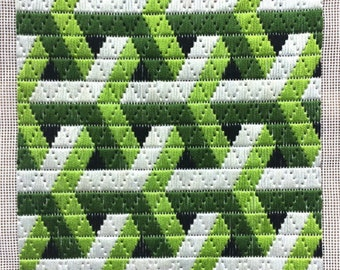 Bargello Needlepoint 'Stem Network' Geometric Florentine Long stitch Longstitch completed, Silver Grey, Moss and Lime green