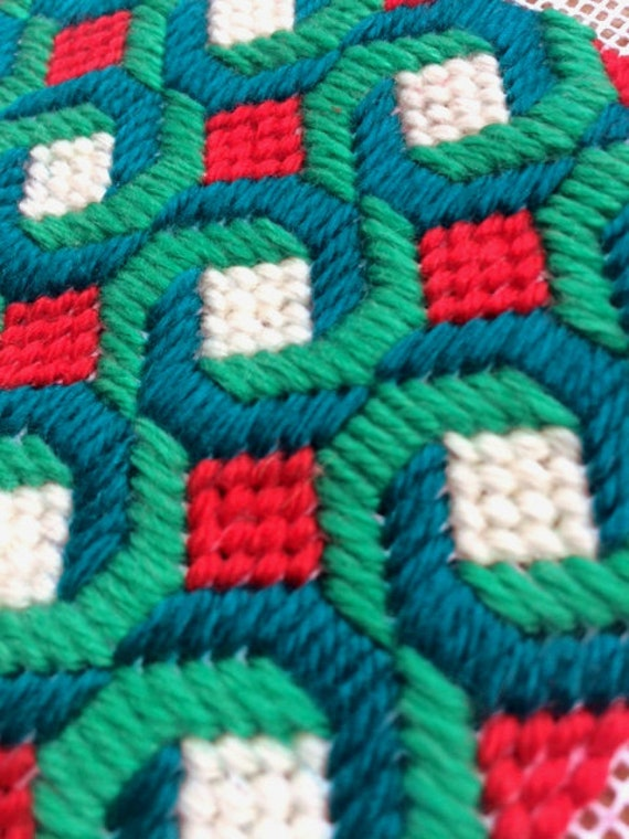 Handstitched Young Bess Bargello Handmade Needlepoint Choker Embroidery Candy Colours Artisan Lace