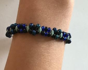 Blue and black double beaded bracelet