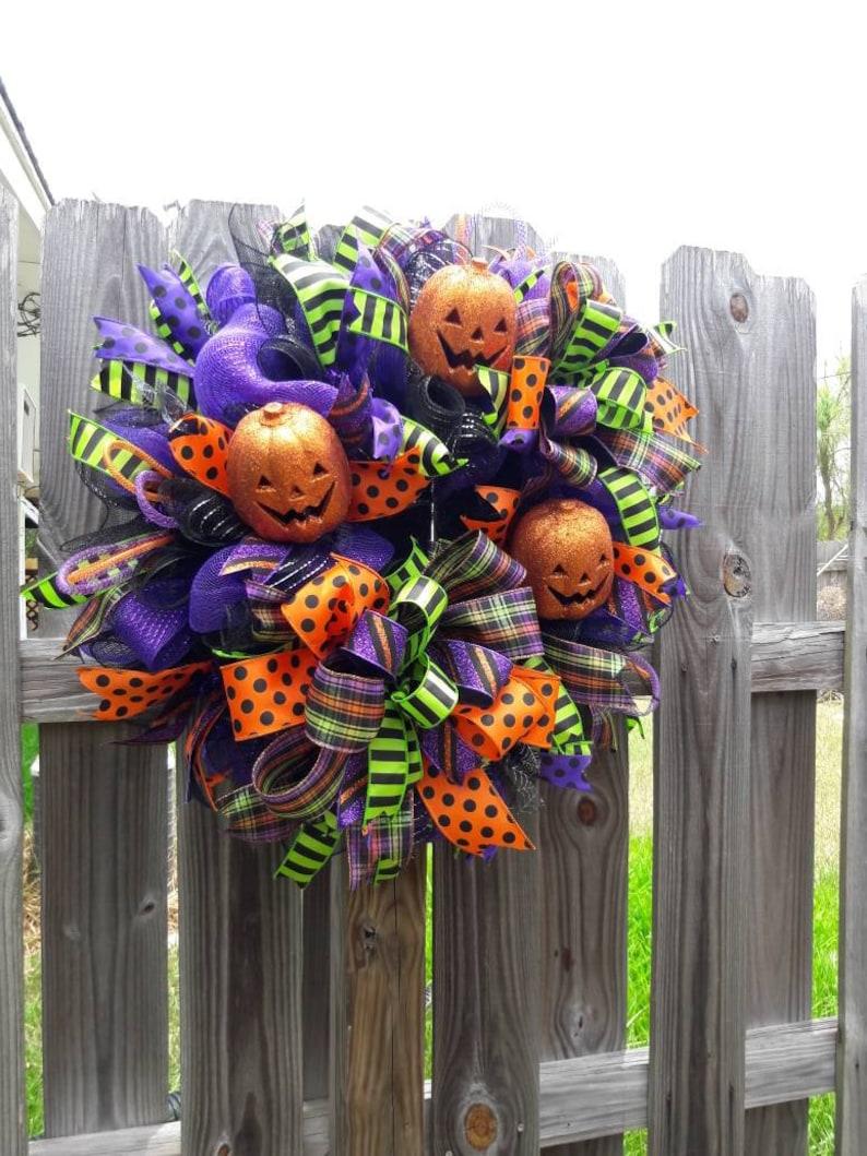 Halloween Wreath,Happy Halloween Wreath,Halloween Decor,Fall Wreath,Halloween Pumpkin Wreath,Wreath for Halloween,Halloween Pumpkin Decor.