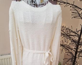 Vintage Just-Mort Jumper Dress embellished with Pearls Size Medium
