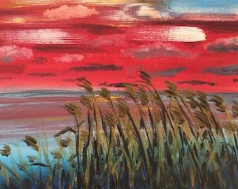 Abstract River original art  acrylic painting on canvas medium size