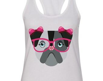 Girl Bulldog with bows and glasses shirt
