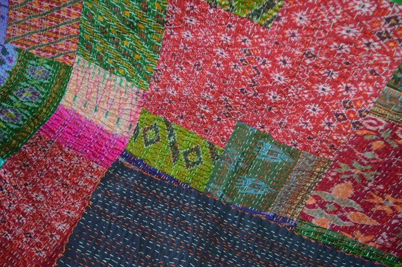 Patchwork Handmade Bedding Bedspread Patola Silk Indian Kantha  Gudari Quilt PS-05