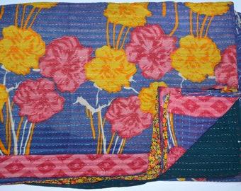 Handmade Reversible Quilt Vintage Indian Gudari Kantha Quilt Kantha Bedding Bedspread KG-83