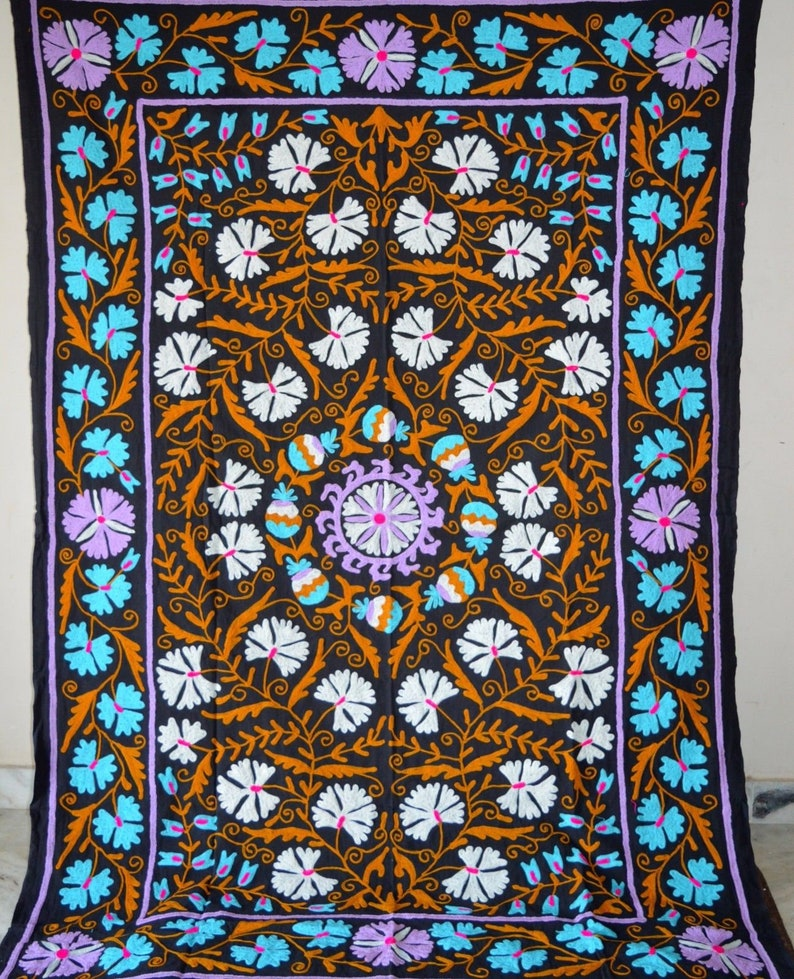 Embroidered Cotton Suzani Hand Blanket Bohemian Throw Quilt Twin Bedding