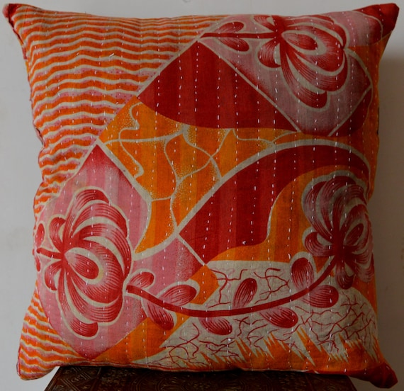 Indian Decorative Cushion Cover Handmade Pillow Cover Kantha Etsy