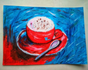Acrylic painting on cardboard A4 with a poem on the back. A cup of coffee.