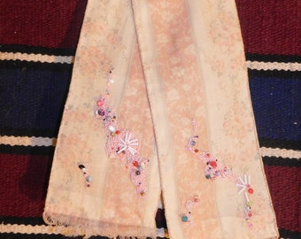 Hand-beaded scarf in salmon and white