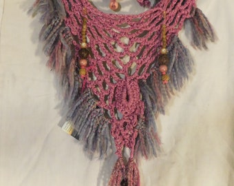 Pink Hand-beaded Cowl Necklace