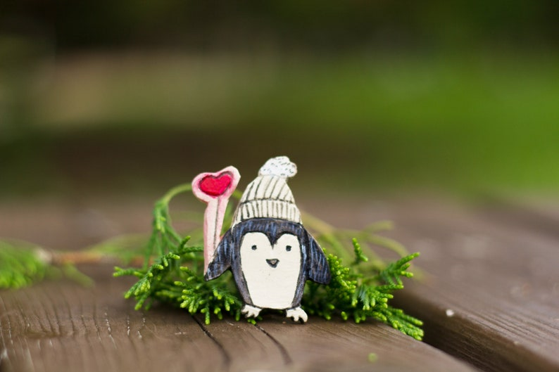 Ceramic penguin brooch Small black and white badge Porcelain Antarctica adelie pin Cute baby animal Funny aquatic Valentines gift