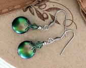 Swarovski green coin pearl drop earring Swarovski pearl earring pearl jewellery vintage style australian seller wedding jewellery bohemian