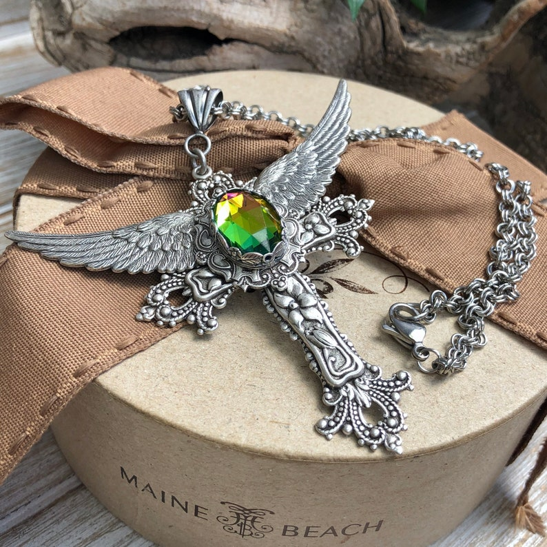 Large wings cross with vitrial green stone victorian bohemian vintagestatement necklaceaustralian sellerboho gothic cross necklace