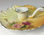 Vintage 1950 39 s Lefton China Roses Leaf Shaped Chamber Stick Chamberstick Candlestick Candle Holder