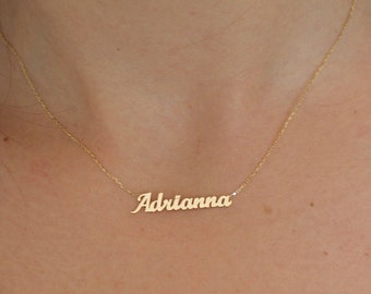 14k Solid gold name necklace - Name necklace - Gold name necklace - Personalized jewelry - Personalized Gift - Christmas Gift - Blackfriday