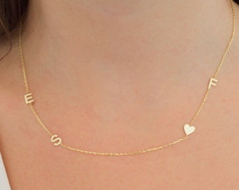 14k solid gold initial necklace , Sideways initial necklace  ,Personalized Jewelry, Gold Necklace , Perfect Gift for Her , Personalized gift