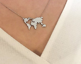World map necklace etsy world map necklace earth day gift graduation globe necklace foreign exchange student jewelry world outline wanderlust gift love gumiabroncs Choice Image