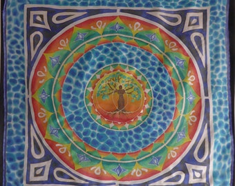 Mandala, Tree of life, hand painted silk scarf, art to wear, unique