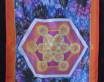 Mandala, 1. Chakra, 2. Chakra, Metatron, hand-painted silk scarf, art for wear, unique