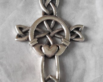 Sterling Silver Celtic and Cross Pendant