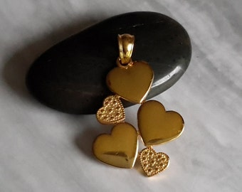 Sterling silver 5 heart pendant gold plated