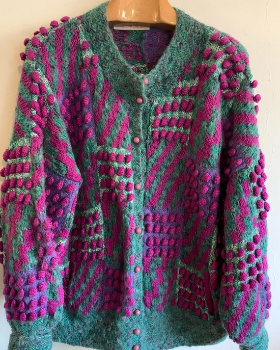 Vintage oversized Wool mohair 1980s cardigan