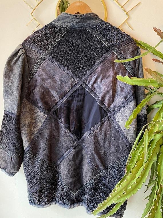 Vintage 1980s patchwork silk denim jacket - image 3