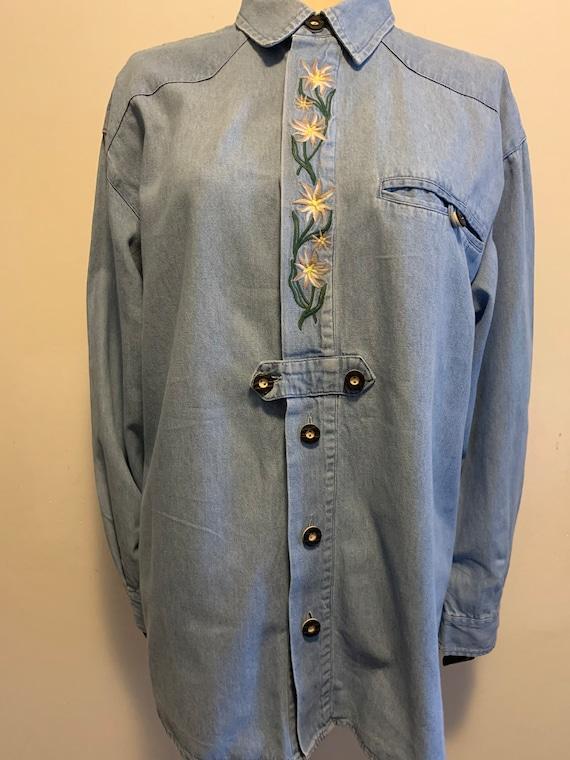 Vintage Denim folklore embroidered blouse