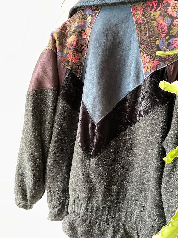 Vintage hipster velvet patchwork Jacket - image 8