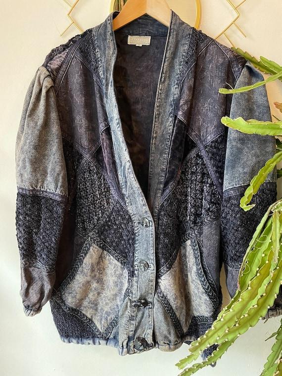 Vintage 1980s patchwork silk denim jacket - image 1