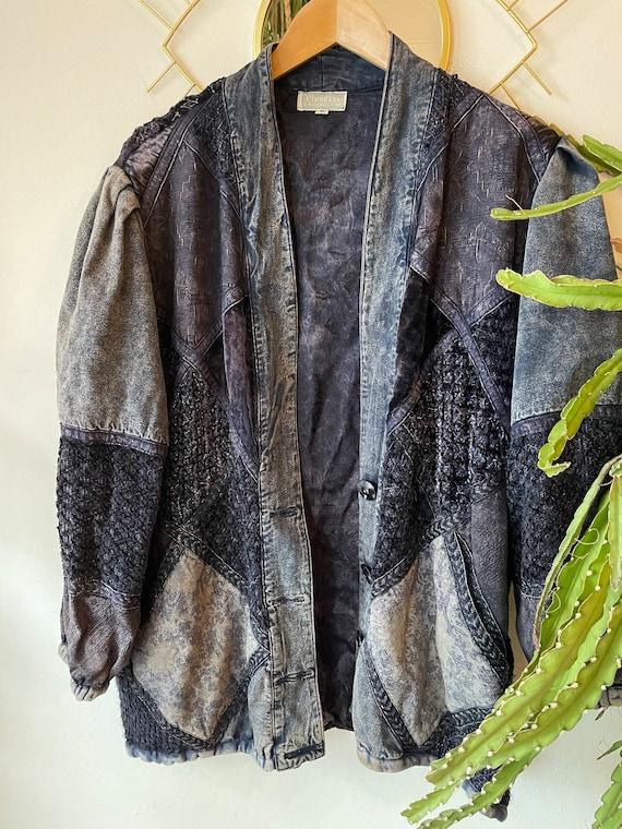 Vintage 1980s patchwork silk denim jacket - image 2