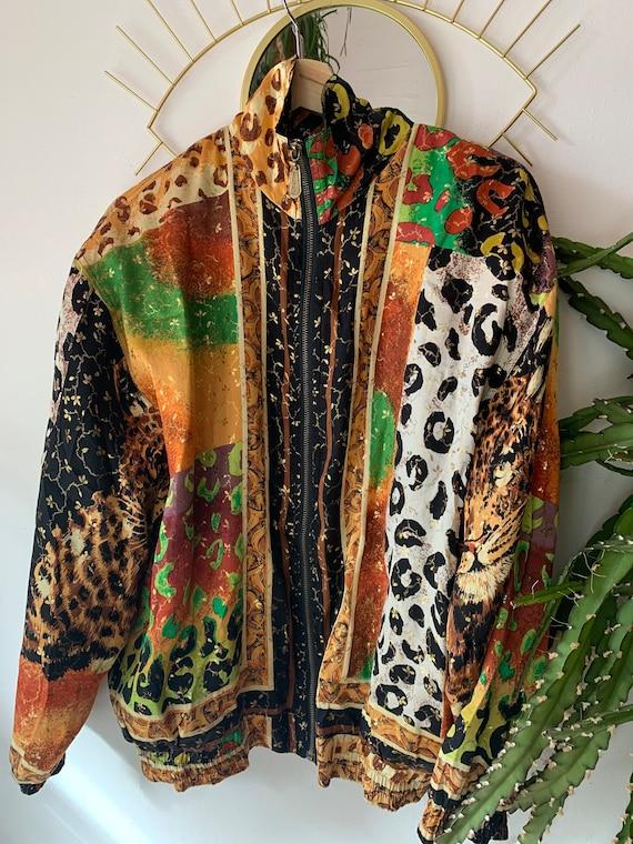 Vintage silk leopard jacket